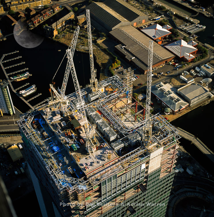 Canary Wharf, A Construction Of The Roof Of The Barclays Bank (One Churchill Place), London
