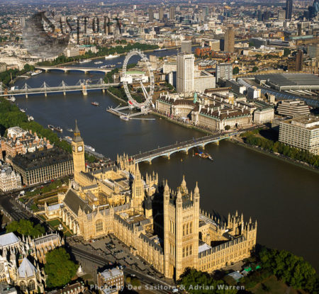 Palace Of Westminster, Big Ben, And Westminster Bridge, Looking North With Milliennium Wheel, Hungerford Bridge And Waterloo Bridge In Background