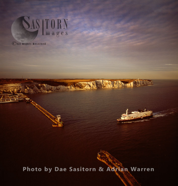 Ferry arriving at Dover Harbour at sunset, Kent