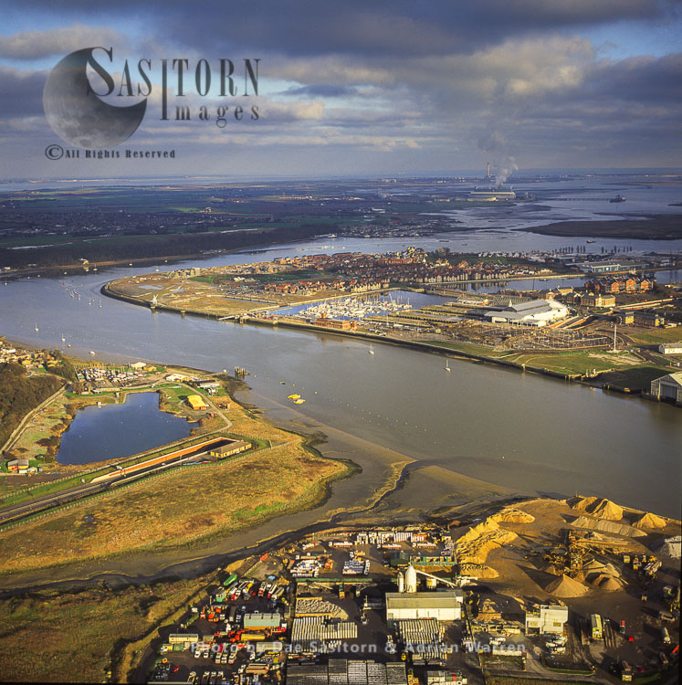 View From Medway City Estate Over St Mary's Island, And Chartham Marina,, The River Medway Estuary, Kent
