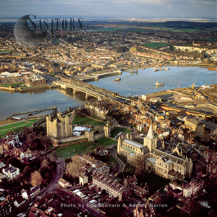 Rochester Cathedral And Rochester Castle With Strood Across Rochester Bridge, On The Medway, Kent
