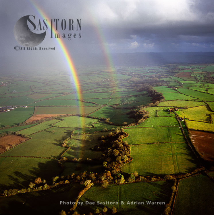 Rainbow Over The Somerset Levels, Agriculture Land For Hay, Arable, Peat Extracted, Willow And Teazel