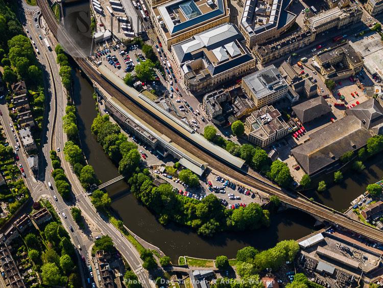 Spa Railway Station and Halfpenny Bridge, Bath, Somerset