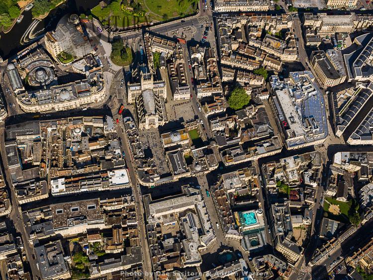 Roman Baths And Bath Abbey And City Of Bath, Somerset, England