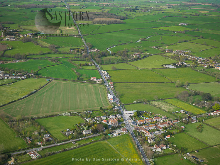 Fosse Way Roman Road, A37 At Lydford-on-Fosse, Somerset, England