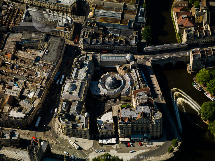 Bath Guildhall Market and Pulteney Bridge, City of Bath, Somerset
