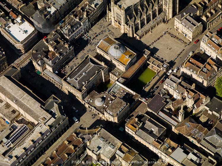 Roman Baths and Bath Abbey, City of Bath, Somerset, England