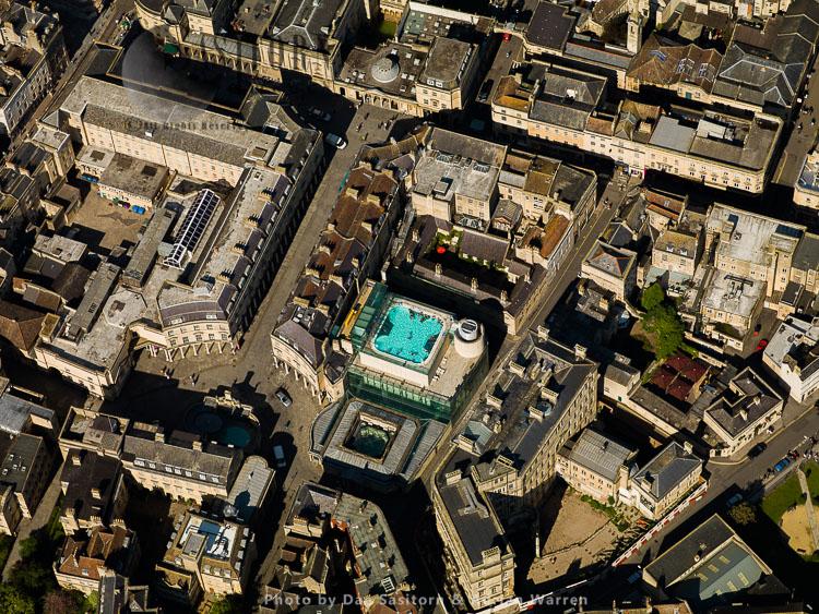 Bath city centre and Thermae Bath Spa, Bath, Somerset