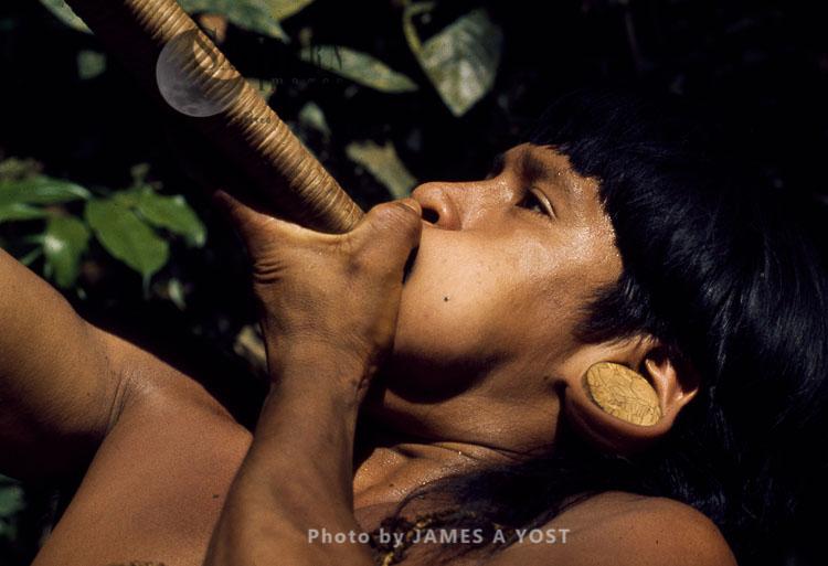 Waorani Indians, Boys Condition Lungs, Diaphragm And Cheeks For Effective Blowgunning, Gabado, Ecuador, 1973