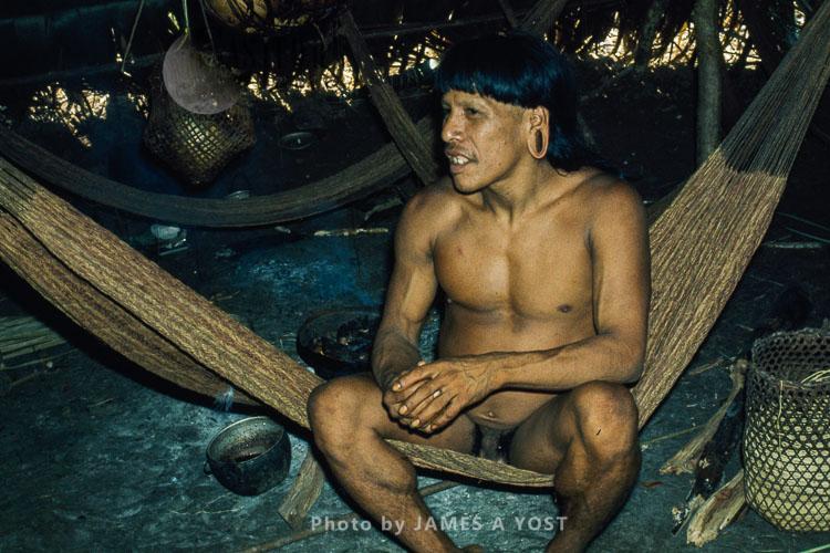 Waorani Indians: A Warrior's Hammock Is His Most Important Possession, Gabado, 1975, Ecuador