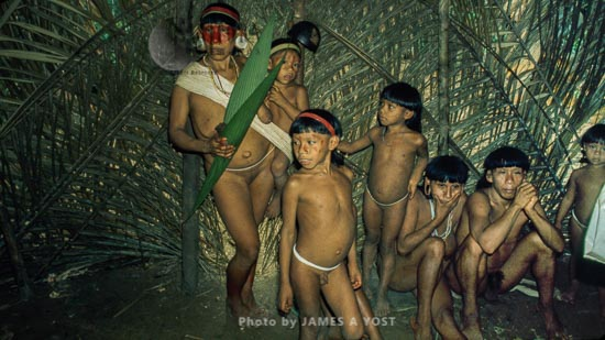 Waorani Indians: Visitors From Dicado Show Up At The Gabado Aemae, Gabado, 1974, Ecuador