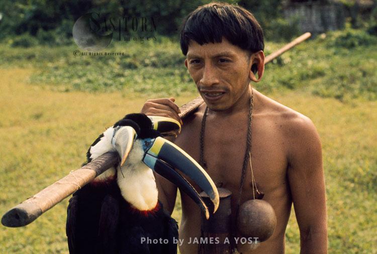 Waorani Indians: A Successful Hunt Of Couvier's Toucans, Tewaeno, 1974, Ecuador