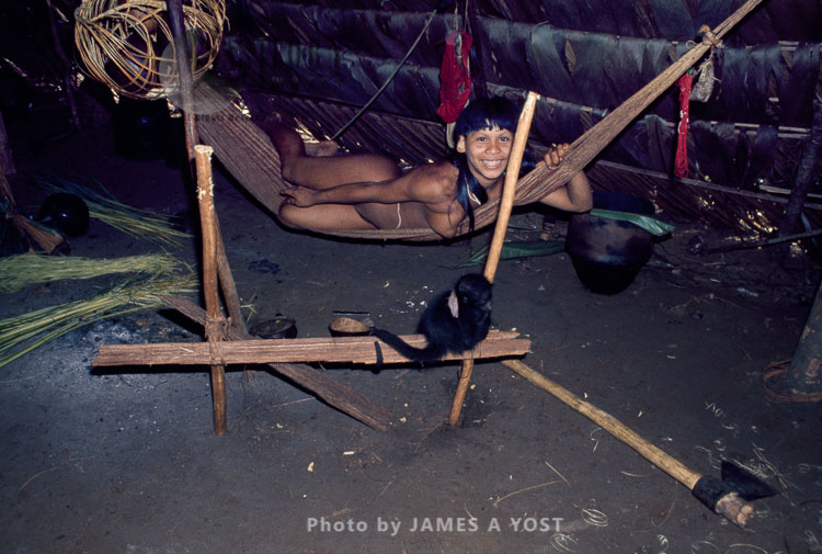 Waorani Indians, Pets Are Often Kept Inside The House, Gabado, Ecuador, 1973