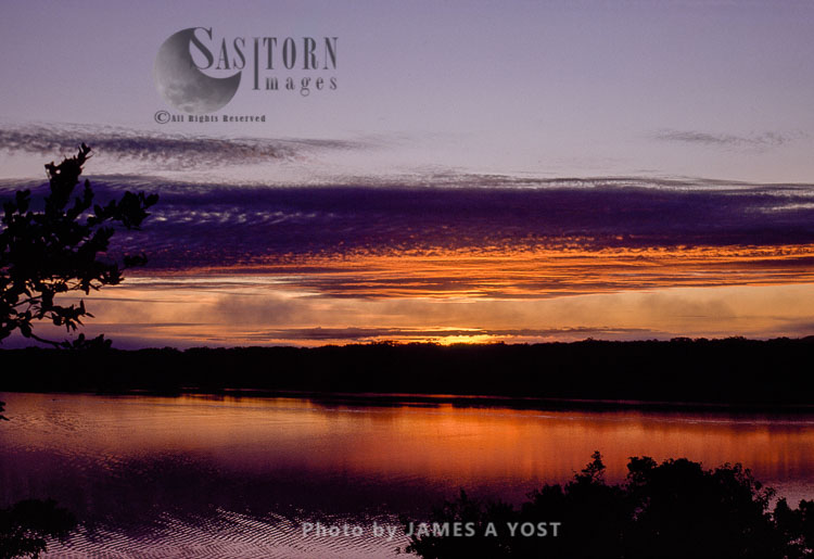 Waorani Indians: Sunrise Over Lake Limoncocha, Limoncoch
