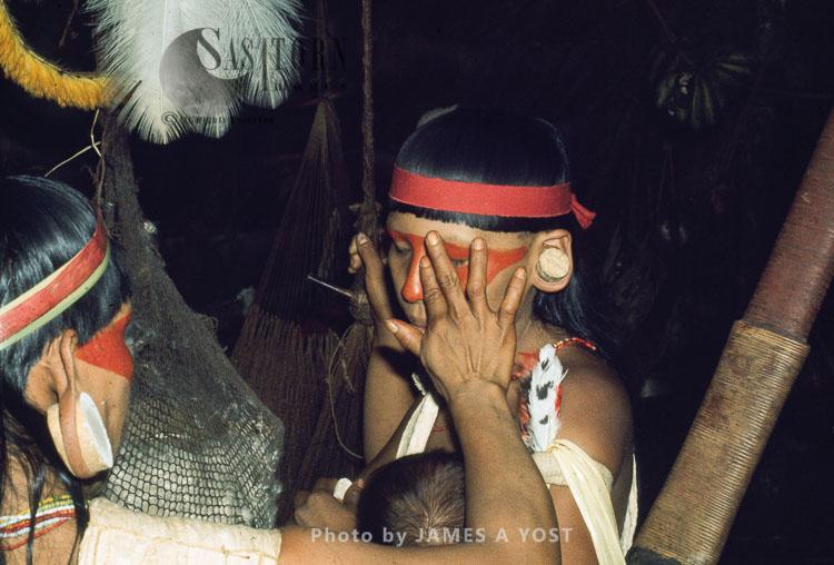 Waorani Indians: Face Painting Is For Celebrations, Not For War, Gabado, 1974, Ecuador
