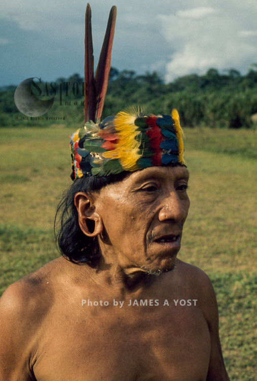 Waorani Indians: Cowae In Traditional Toucan Headdress, Tewaeno, 1974, Ecuador