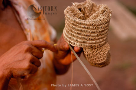 Waorani Indians: Chambira Palm Fiber Made Into Twine Is Used For Basket, Tewaeno, 1975, Ecuador