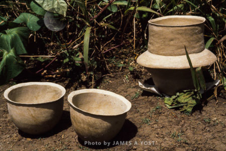 Waorani Indians: Clay Drinking Bowls And Storage Pot For Valuables, Like Feathers, Dry, Awaiting Firing, Kiwado, 1978, Ecuador