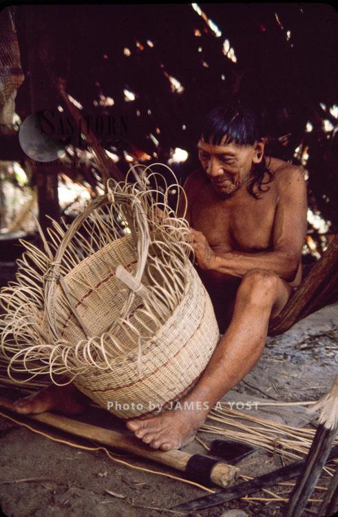 Waorani Indians: In Some Communities The Men Make The Baskets; In Others, The Women Do, Kiwado, 1980, Ecuador