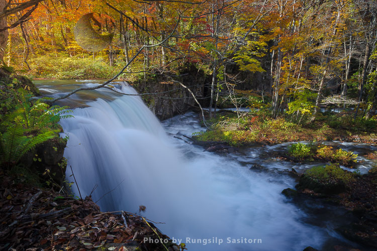 Beautiful Choshi Otaki Waterfall In Autumn Colors At Oirase Gorge And Lake Towada, Tohoku Japan.