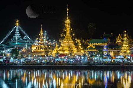 Wat Jong Kham And Wat Jong Klang, Beautiful Temples At The Edge Of A Lake, Mae Hong Son, Northern Thailand