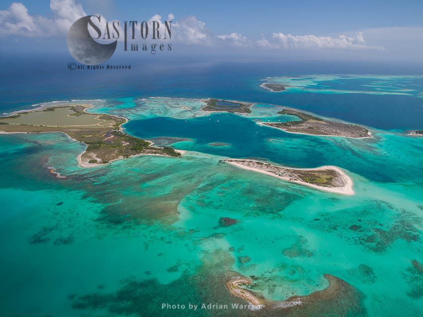 Cayos Francisqui Group Of Islands And Rasqui Island In Los Roques Archipelago, Caribbean Sea, Venezuela, South America