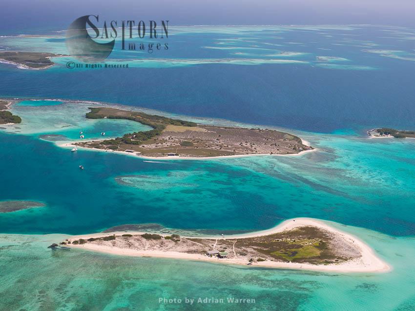 Rasqui Island With Abajo Part Of Cayos Francisqui Group Of Islands In Background,  Los Roques Archipelago, Caribbean Sea, Venezuela