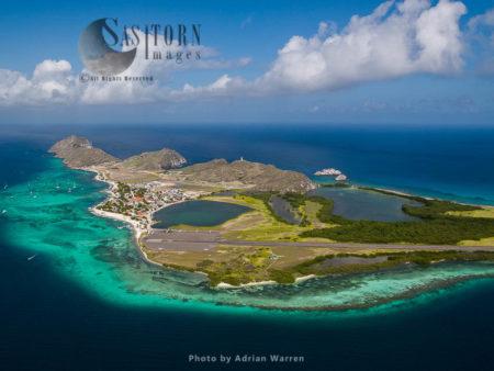 Gran Roque With Airport, The Main Island Of Los Roques Archipelago, Caribbean Sea, Venezuela