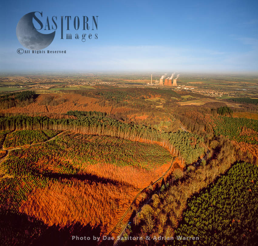 Cannock Chase Forest With Rugeley Power Station In Background, Staffordshire
