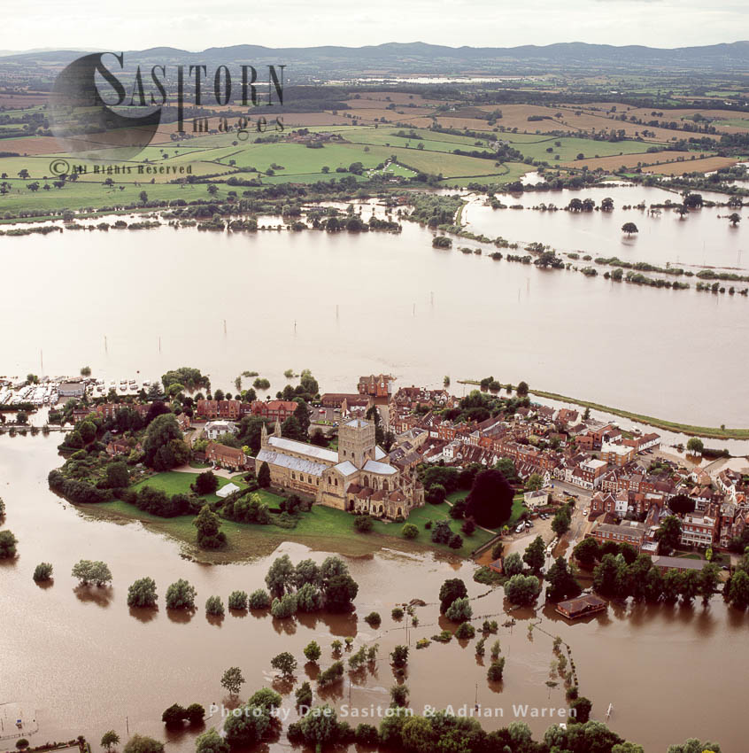Floods In 2007, Tewkesbury Abbey, Tewkesbury, Gloucestershire, England