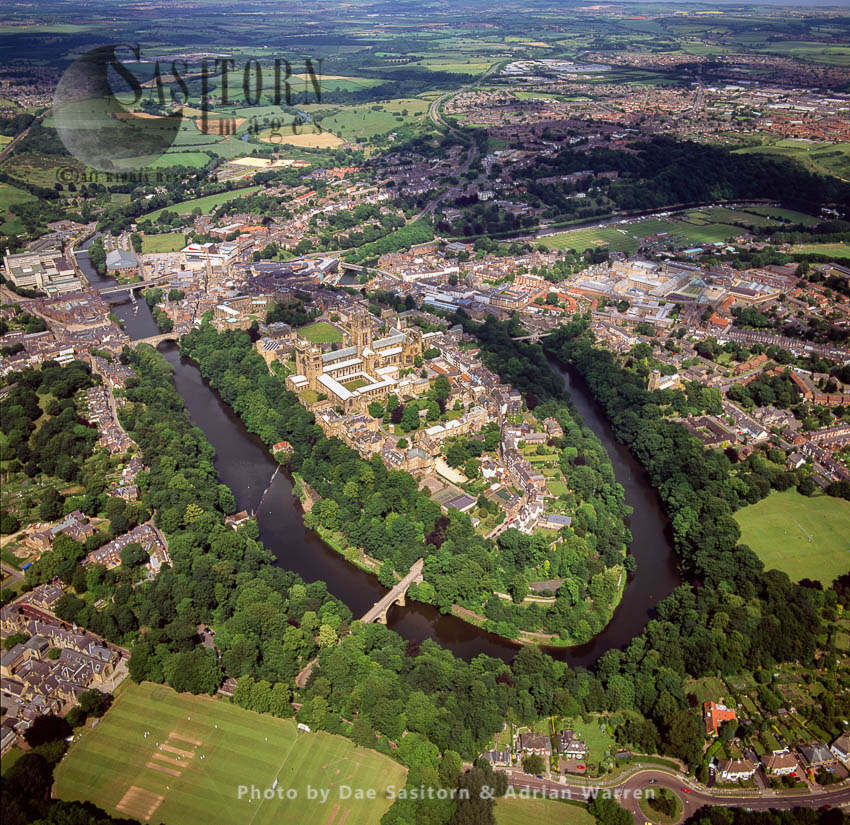 Durham With Its Cathedral And Castle, Lies On River Wear, North East England