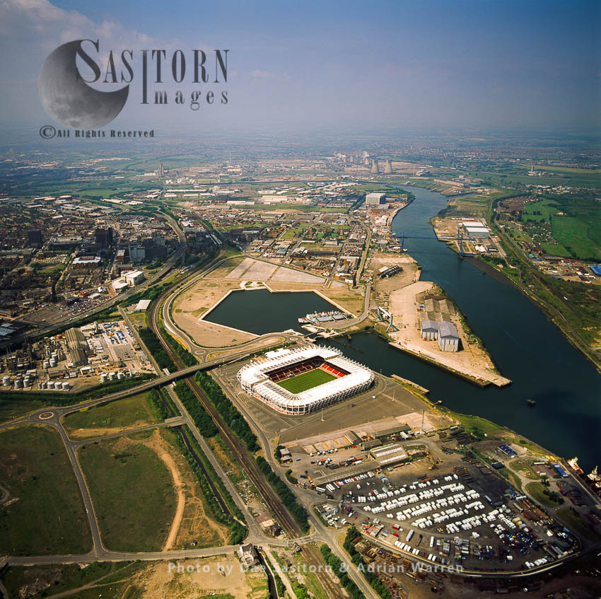 Middlesbrough, The Town And Its Football Stadium By The River Tees, Cleveland