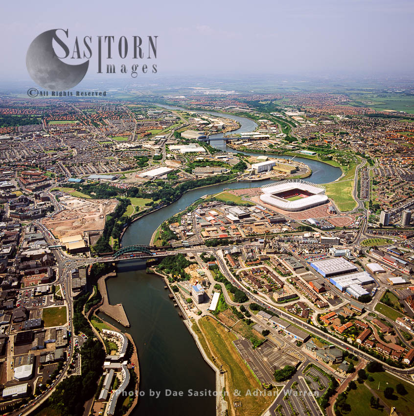Sunderland On The River Wear, With Football Stadium Sunderland AFC, Tyne And Wear, England