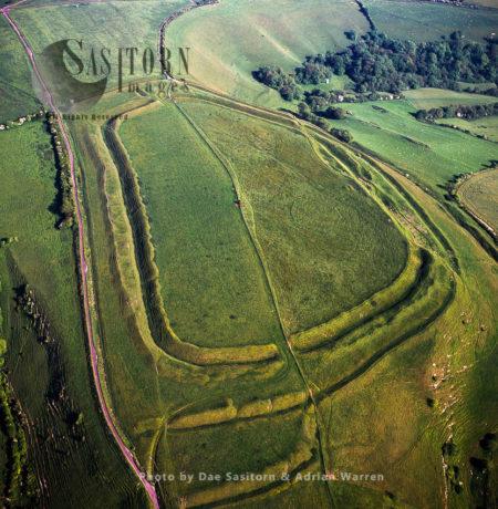 Eggardon Hill, An Iron Age Hill Fort, On Chalk Uplands Near Bridport, Dorset