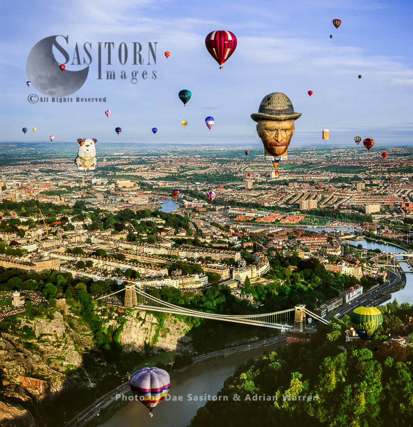Balloons Over Clifton Suspension Bridge, Avon Gorge, Clifton, Bristol, Somerset