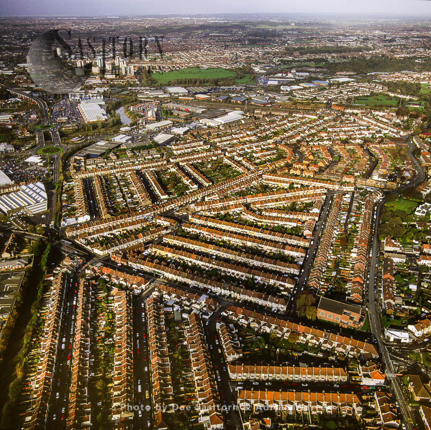 Housing In Residential Area Of Brislington, In The Background Is St Philip's Marsh, An Industrial Inner Suburb Of Bristol, Somerset