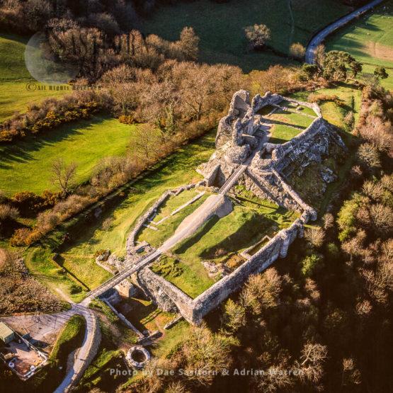 Montgomery Castle, Powys, Montgomeryshire. Stone Enclosure Fortress On A Narrow Ridge, North Wales