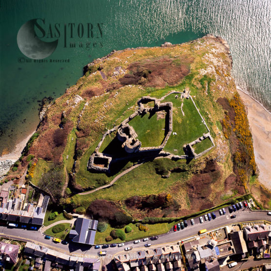 Criccieth Castle, On Coast At Criccieth, West Of Porthmadog. Stone Ruin With Twin Towered Gatehouse On Headland., North Wales