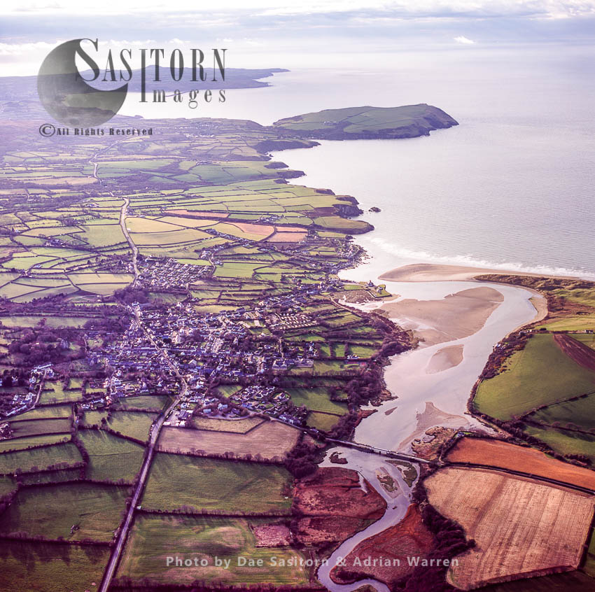 Newport Sands On The Mouth Of The River Nevern, With Dinas Island In Background, Pembrokeshire, Wales