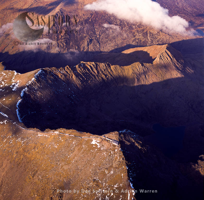 Snowdon, The Highest Mountain In Wales, 1,085 Metres Above Sea Level, Snowdonia National Park In Gwynedd