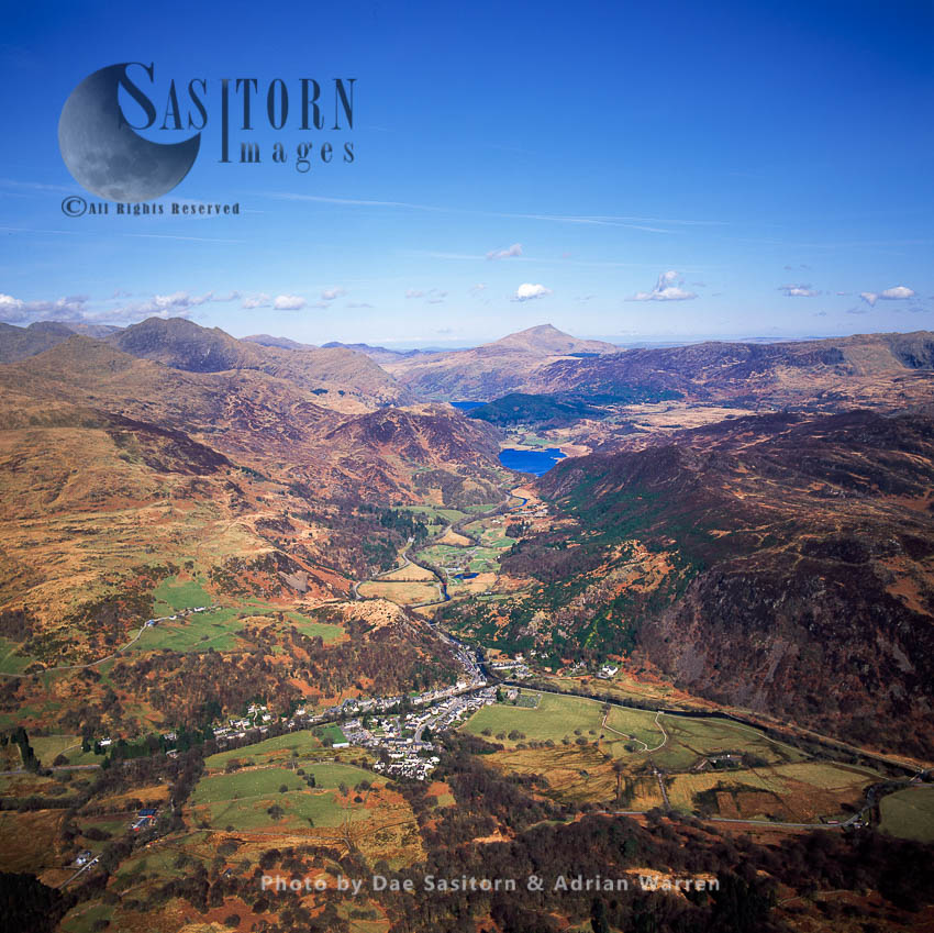 Beddgelert  With Llyn Dinas In Distance, Snowdonia, North Wales