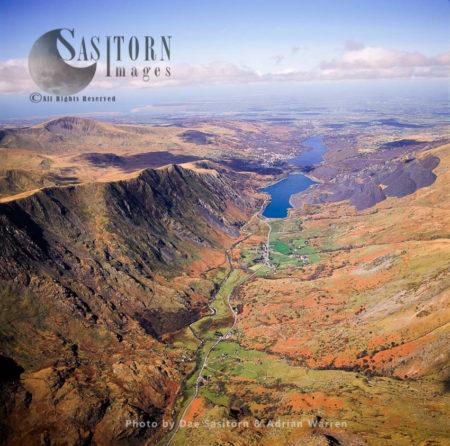 Nant Peris And The Lake Llyn Peris, With LLanberis In Distance, Snowdonia National Park, Gwynedd, North Wales
