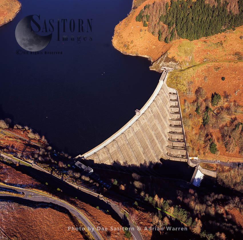 Llyn Clywedog And Clywedog Dam 3 Km From Geufron, Powys, South Wales