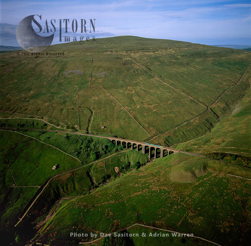 Arten Gill Railway Viaduct With A Train, Yorkshire Dales, Yorkshire