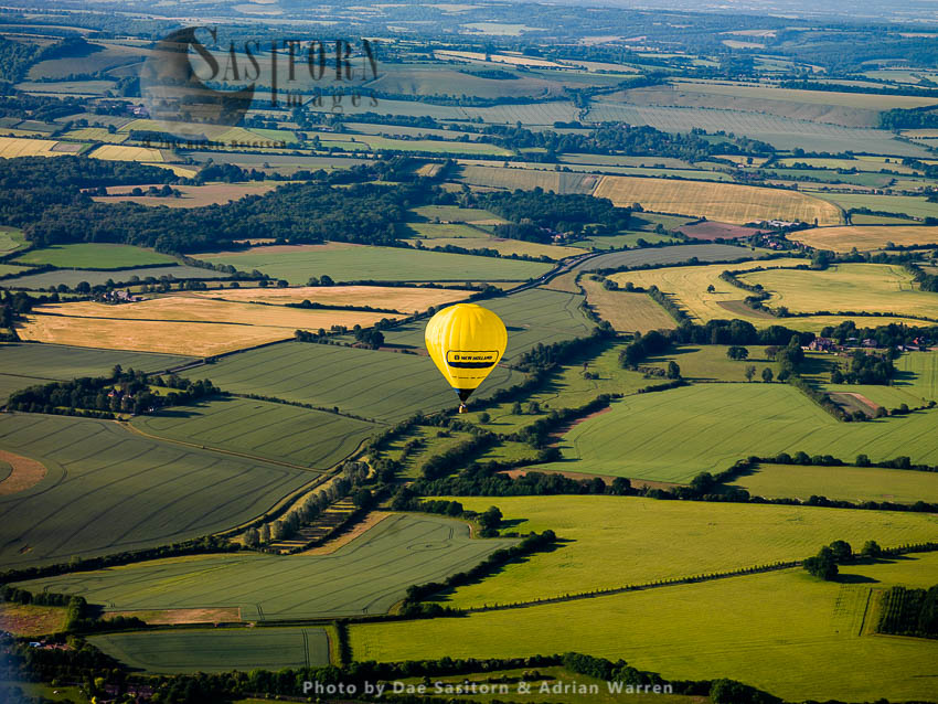 Hot-air Balloon Over Wiltshire, England