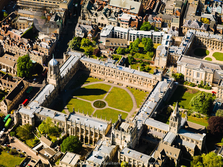 Christ Church And Tom Tower And Christ Church Cathedral And Part Of Christ Church Library, University Of Oxford, Oxfordshire, England