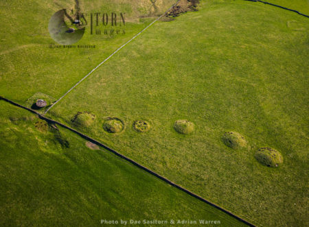 Priddy Nine Barrows, Divided Into A Group Of Seven Round Barrows (one Very Faint) In Picture Another Pair Not In Shot, Mendip, Somerset