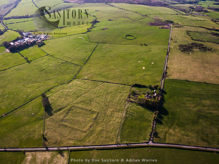 Charterhouse Roman Fort (foreground) And Amphitheatre (in Distance), Roman Settlement Site, Mendip, Somerset