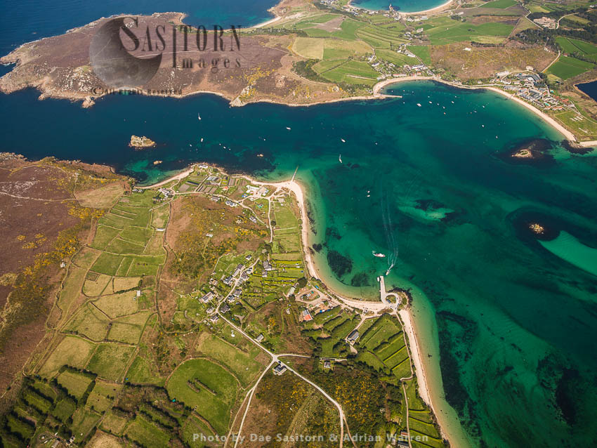 Bryher With Tresco Across The Water, The Isles Of Scilly, An Archipelago Off The Cornish Coast Of Southwest England