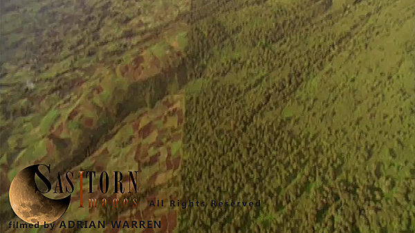 Forward tracking aerial shot, Rwandan countryside, camera tilted down oblique, passes along border of national park with patch work fields to left and forest to right